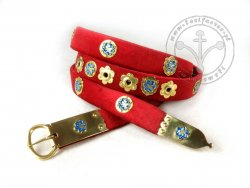 250C Medieval belt - trimmed with silk velvet - with mounts
