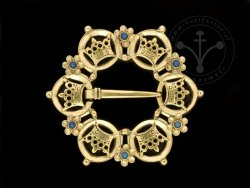BR-11B Brooch with crowns - with agates