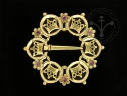 BR-11D Brooch with crowns - with amethysts