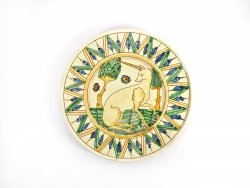 "P-102 Big Sgraffito plate - ""Unicorn"""