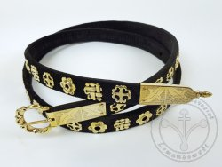 000BF0 Medieval belt - trimmed with silk velvet - with 51 pcs of mounts