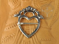 "BR-03S Brooch - ""Heart with birds"" SILVER-PLATED"
