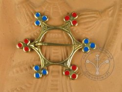 "BR-05EBR Brooch - ""Star"" -  BLUE & RED ENAMELED5"