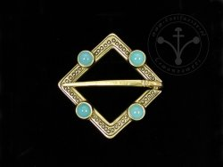 BR-12A Brooch with light blue agates