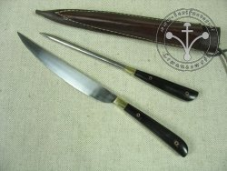 KS-019 Big medieval knife with spike - horn handles