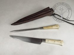 KS-024B Big medieval knife with spike - bone handles
