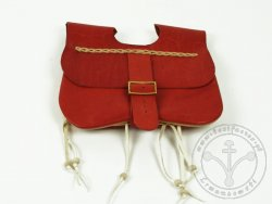 PS-03A Two-panel purse with pouches  14th-15 cent. - red