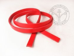 R-05 Leather belt - plain - 1,3 cm - red